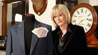 Jane Moore at a Saville Row tailor's