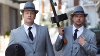 Jamie Oliver and Jimmy Doherty dressed in suits