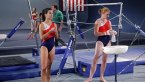 Two gymnasts prepare for a competition