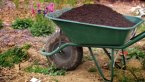 A wheelbarrow filled with soil