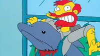 Groundskeeper Willie impaled on a Dolphin