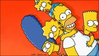 The Simpsons family on a red background