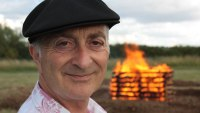 Tony in front of a pyre