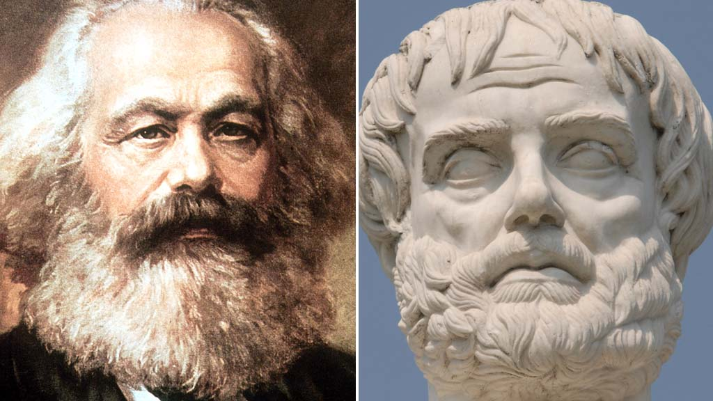 Karl Marx and Aristotle (Getty Images)