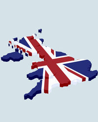 Map of the UK in union jack print