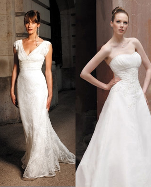 Best style for an apple shape body wedding dress hot for Wedding dresses for apple shaped brides