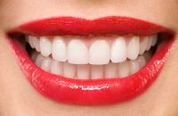 White teeth and red lips
