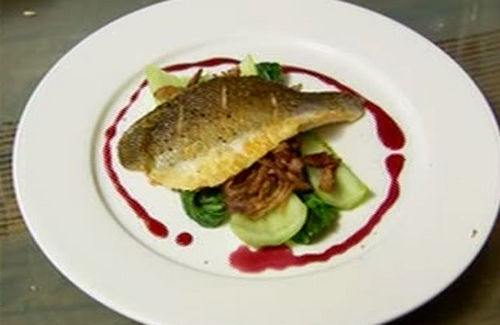 Sea bass and duck confit