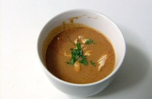 Spicy peanut soup with shredded chicken recipe - Channel4 - 4Food