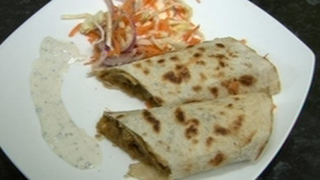 Asian chicken curry roti