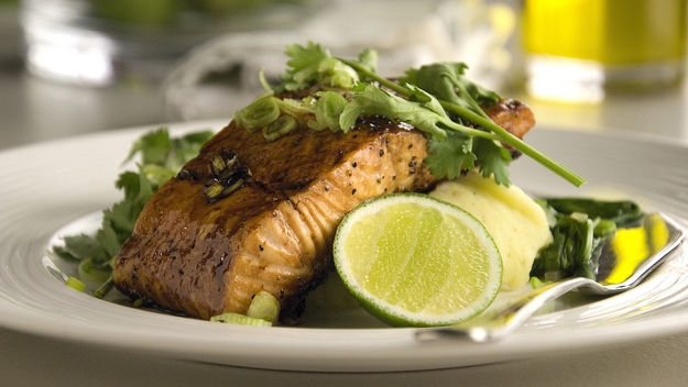 Soy glazed salmon, wasabi mash and braised pak choi recipe