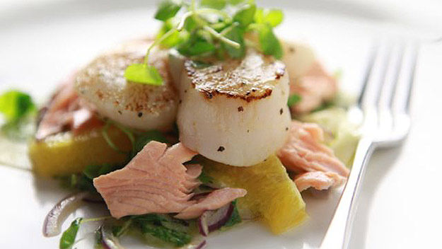 Scallop, salmon and citrus salad recipe