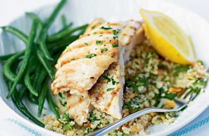 Griddled chicken with lemony barley couscous