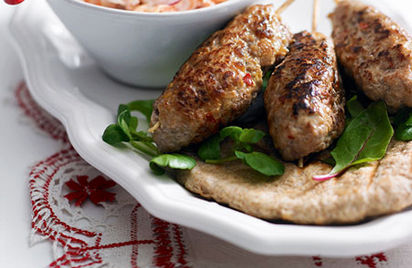 Pork and apple koftas with quick slaw