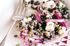 Puy lentil, red onion and feta salad