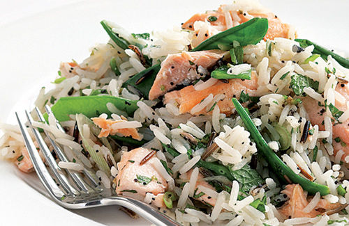 Wasabi-dressed salmon and basmati salad
