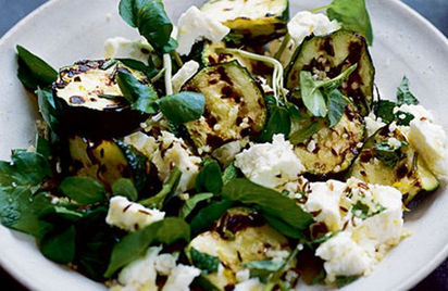 Lemon, courgette and feta watercress salad