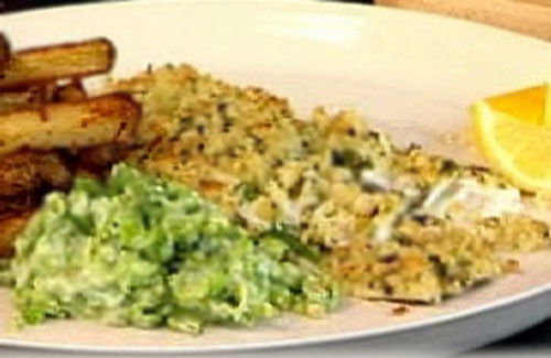 Healthy fish and chips with mushy peas recipe