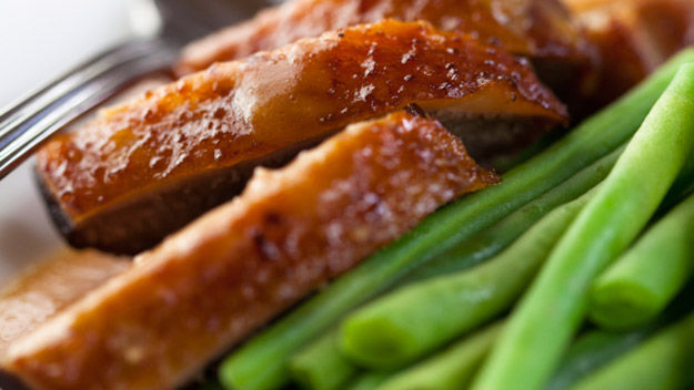 Honey-roasted duck with a green bean and hazelnut salad recipe