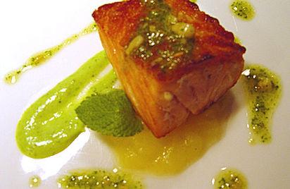 Confit salmon, tomato fondue and asparagus cream recipe