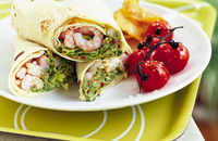 Prawn and guacamole wraps