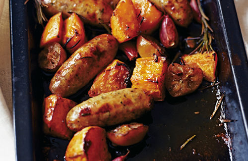 Sicilian sausages with roast sweet potatoes recipe