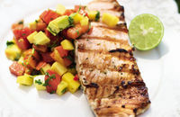 BBQ coconut salmon with salsa