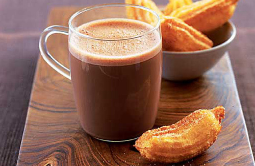 Try this hot chocolate with a Mexican twist - the churros are perfect ...