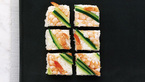 Prawn and cucumber squares