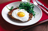 Bean and potato hash with egg