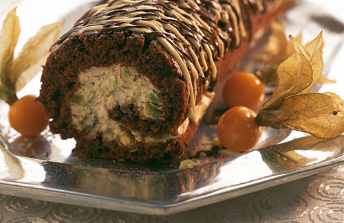 Chocolate pistachio yule log