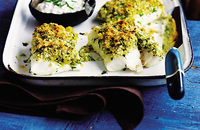 Baked fish with a herb crust