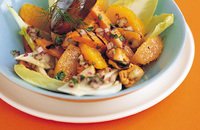Sweet potato, orange and mussel salad