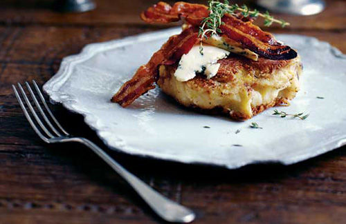 Colcannon cakes with pancetta and Stilton recipe