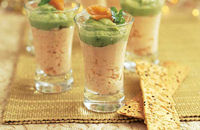 Salmon and guacamole shots