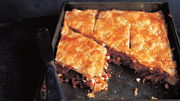 Tomato, feta, almond and date baklava recipe