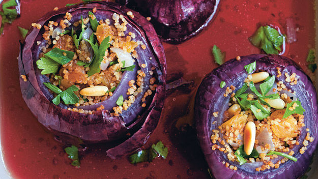 Baked red onions stuffed with toasted spiced couscous recipe