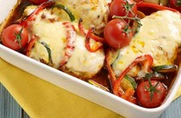 Cheesy chicken with ratatouille
