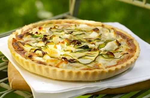 Courgette, goat's cheese and toasted pine nut tart recipe