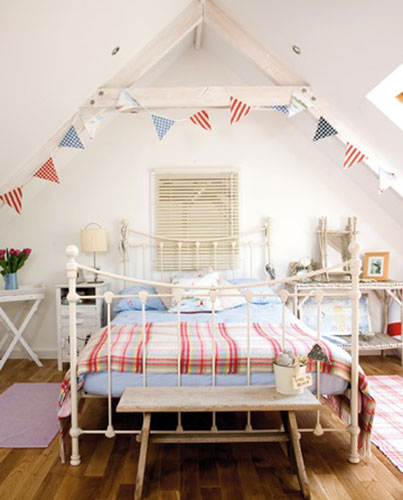 attic bedroom makeover ideas - A touch of Red White and Blue colors on Pinterest