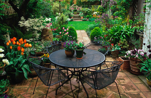 Small City Backyard Garden : The dull patio was replaced with handmade terracotta tiles