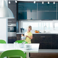 Ikea Kitchen Designer on Black Kitchen Black Kitchen Cabinets Look Cutting Edge Add Glass