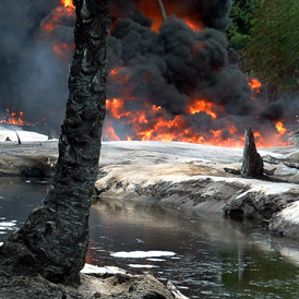Oil from a leaking pipeline burns in Goi-Bodo, a swamp area of the Niger Delta in Nigeria October 12, 2004