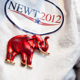 Newt Gingrich campaign badge.