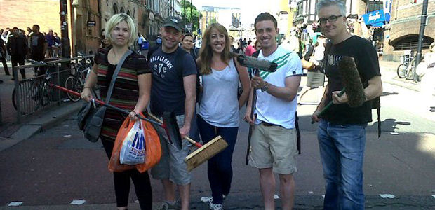 Heather Taylor (left) and others involved in the Clapham Junction clean up