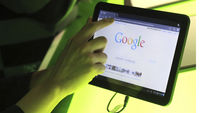 The Google homepage shown on the latest versio of its Android operating system (Reuters)