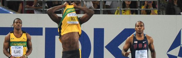 Usain Bolt's false start. (Getty)
