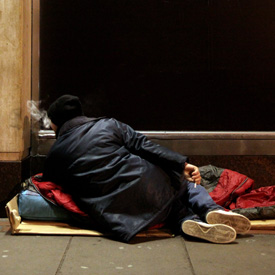 A rough sleeper on Oxford Street, London (Getty)