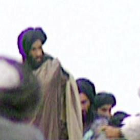 Reclusive Taliban leader Mullah Mohammed Omar seen at a Kandahar rally.