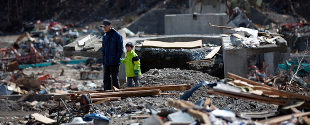 Tsunami debris at Tanohata village, Iwate prefecture (Getty)